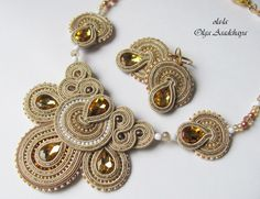 """necklace and earrings """"Golden Drop"""" soutache, glass rhinestone jewelry, glass beads, Japanese and Czech seed beads Beaded Jewelry Designs, Rhinestone Jewelry, Boho Jewelry, Jewelry Sets, Jewelery, Soutache Necklace, Tassel Earrings, Necklace Set, Crochet Earrings"""
