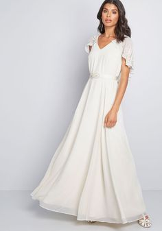 Whether your nuptials are beachside or you simply want to shine like the diamonds on the shore, this ivory bridal gown from our ModCloth namesake label is. Chiffon Maxi Dress, Striped Maxi Dresses, Linen Dresses, Floral Maxi Dress, Dresses With Sleeves, Dresses Dresses, Flower Dresses, Cape May, Unique Dresses
