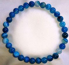 Blau Streifenachat Heilstein Perlen Armband