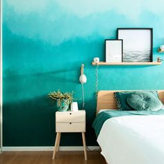 Baby Blue Colour, Color, Block Wall, Blue Walls, Room Ideas, Gallery Wall, Bedroom, Green, Home Decor