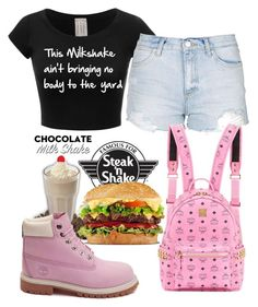 """Steak n' Shake Casual 18"" by copperperro ❤ liked on Polyvore featuring Topshop, Timberland and MCM"