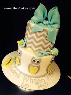 Owl baby shower cake! Baby Shower Games, Baby Boy Shower, Baby Shower Cakes For Boys, Shower Party, Baby Shower Parties, Baby Shower Gender Reveal, Baby Owls, Baby Bumps, Owl Cakes