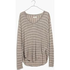 MADEWELL Anthem Long-Sleeve V-Neck Tee in Double Stripe ($50) ❤ liked on Polyvore featuring tops, t-shirts, hthr sandstone, striped t shirt, brown v neck t shirt, long sleeve v neck t shirts, brown long sleeve t shirt and long sleeve tee