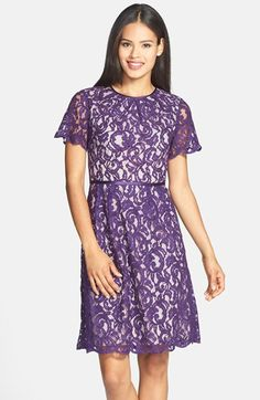 Free shipping and returns on Adrianna Papell Scalloped Lace Dress (Regular & Petite) at Nordstrom.com. Luscious satiny trim finishes the rolling scalloped edges of a charming lace dress shaped by crisp pleats around the rounded neckline and nipped waist.