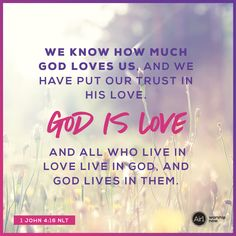 We know how much God loves us, and we have put our trust in his love. God is love, and all who live in love live in God, and God lives in them. –1 John 4:16 NLT #VerseOfTheDay #Bible Bible Quotes, Bible Verses, Childlike Faith, True Vine, Kingdom Of Heaven, Seasons Of Life, Daily Bible, Believe In God, Gods Promises