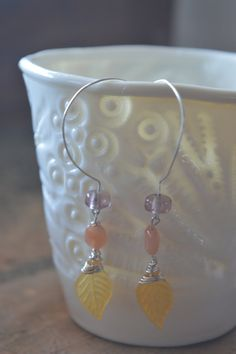 Pretty Coral Yellow and Pink Dangle Drop Earings by MiluStore