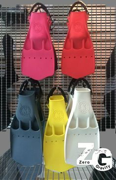 ScubaPro Jet fins, pink, red, gray, yellow and white.
