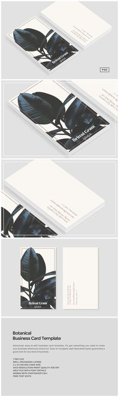Botanical Business card Template by The Design Label on @creativemarket More