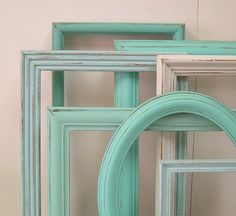 Shabby Chic Frames Picture Frame Set LARGE Frames Turquoise Aqua Mint Home Decor Beach Cottage Chic. $94.00, via Etsy.