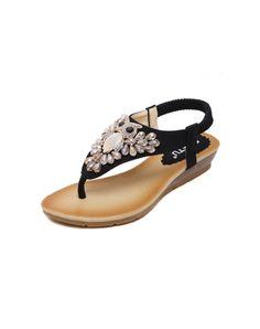 a8ef074f754e  AdoreWe  VIPme Sandals - L A Black Owl Pattern FlipFlops Low Heel Sandals  - AdoreWe