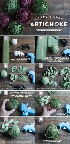 DIY Crepe Paper Artichokes