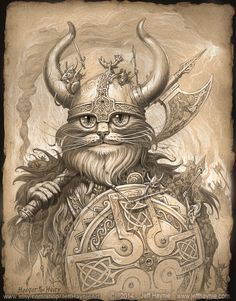 Viking Cat // VIKING print // Black Cat // CAT by JeffHaynieArt