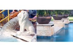 Throwback Thursday - Fountains in swimming pools were (and still are) a must in swimming pools at hotels and public places. Nowadays, the water feature is becoming a standard for residential oasis across America. Some still prefer a lion-headed scupper like the one from 1982 (left). Today, there are many to choose from. Find out more by visiting https://platinumpools.com/water-features/  #swimmingpool   #spa   #waterfeatures   #waterfountain