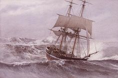 Victor Mays. Collier Brig - North Sea Gale, Late 19th Century. J. Russell…