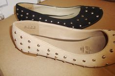 Silver studded Andrea flats; available in both black and beige!