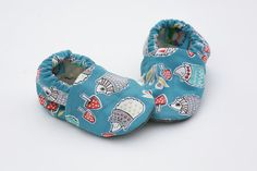 Hedgehog Baby Shoes with Mushrooms on Teal. by GrowingUpWild