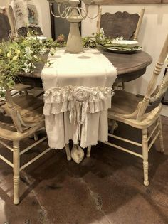 Excited to share this item from my shop: Custom Table Runner or Dresser runner multi ruffle ivory linen cotton canvas lace Handmade French Country Farmhouse dining room table design French Country Tables, French Country Kitchens, French Country Decorating, Country Farmhouse, Vintage Farmhouse, Farmhouse Ideas, Rustic Wood Furniture, Shabby Chic Furniture, Shabby Chic Decor