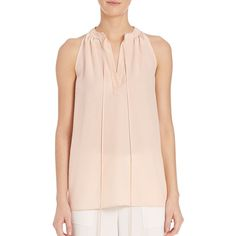 Theory Livilla Tie-Front Silk Blouse ($225) ❤ liked on Polyvore featuring tops, blouses, apparel & accessories, pink blouse, silk tie front blouse, pink sleeveless blouse, tie front top and sleeveless blouse