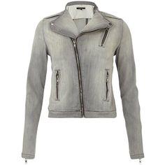Pre-owned J Brand Denim Jean Moto Asymmetrical Zip Biker Gray Jacket ($250) ❤ liked on Polyvore featuring outerwear, jackets, grey, j-brand jacket, stand up collar jacket, rider jacket, moto biker jacket and asymmetrical zipper jacket