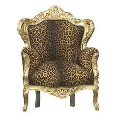 Casa Padrino Barock Sessel 'King' Leopard/Gold