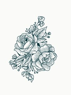 Rose Drawing Tattoo design inspiration — line work florals. Rose, peony, baby's breath, and sweetpea. Line Art Tattoos, Line Work Tattoo, Body Art Tattoos, Sleeve Tattoos, Flower Tattoo Back, Flower Tattoo Designs, Flower Tattoos, Sweetpea Flower Tattoo, Rose Line Art