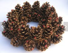 Items similar to Pine Cone Wreath Red Wreath Dried Wreath Table Decor Door Wreath Holiday Wreath Christmas Wreath Natural Wreath Christmas Ring on Etsy Pine Cone Art, Pine Cone Crafts, Christmas Pine Cones, Christmas Crafts, Christmas Ring, Pine Cone Decorations, Christmas Decorations, White Wreath, Elegant Christmas