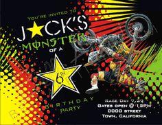 Dirt Bike, Supercross Birthday Invitation, Supercross, Motorcross Invite Rockstar/Monster Energy Sponsor Party. $15.00, via Etsy.