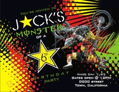Dirt Bike, Supercross Birthday Invitation, Supercross, Motorcross Invite Rockstar/Monster Energy Sponsor Party. $15.00, via Etsy.