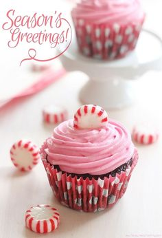 Recipe for Pink Peppermint Candy Chocolate Cupcakes! FlavoursandFrosting.com