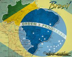 Map and Brazilian Flag