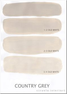 Annie Sloan Country Grey chalk paint -- shown mixed with different strengths of Old White