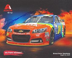 awesome AUTOGRAPHED 2015 Jeff Gordon #24 Axalta Racing Team (Retro Rainbow) Bristol Speedway Rare Hero Card RARE Signed 8X10 Picture NASCAR Hero Card Photo with COA