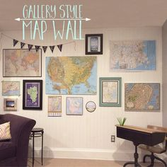 Gallery walls aren't for pictures only - they're for maps too!