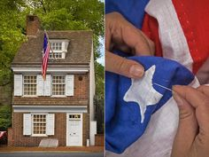 Seamstress Betsy Ross – widely credited with making the first American flag – lived in this Philadelphia home from 1776 to 1779.