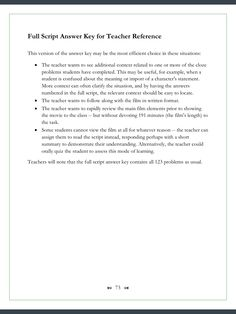 Here is the third answer page -- a full script of the movie with all the student fill-ins clearly marked. As always, helpful teaching tips accompany the answer key....