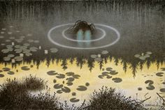 The Water Spirit Theodor Kittelsen is, we're told, one of Norway's most popular artists and illustrators. John Bauer, Steam Artwork, Art And Illustration, Theodore Kittelsen, Troll, Most Popular Artists, Nature Paintings, Folklore, Les Oeuvres