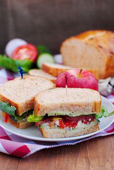 Panera's Mediterranean Veggie Sandwich    Print this recipe!  Serves 1  Ingredients: 2 slices Panera Tomato Basil bread 2-3 Tablespoons jala...