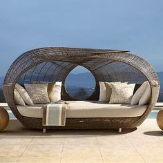 Round Wicker Rattan Sofa Lounge Outdoor Sunbed with Canopy Sunbeds for Beach Material : Rattan / Wicker. Color : Optional. Frame : Aluminum Tube 1.2mm. Folded : No. Warranty : 2 Years. Size : 200*150*220. Specific Use : Sun Lounger. General Use : Outdoor Furniture. Cushion : 15 Cm Waterproof Cushion. Appearance : Modern. Application : Patio\Garden\Outdoor\Hotel\Beach. Product Description 1. Aluminum thickness are at least 1.2mm , some with thicker pipes depends on the construction. Pi Rattan Daybed, Outdoor Daybed, Outdoor Cushions, Fire Pit Furniture, Outdoor Furniture Design, Wicker Furniture, Pool Furniture, Furniture Covers, Costco Patio Furniture