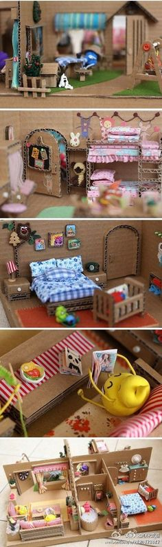 A doll house from card board, super cute and resourcefull Cardboard Dollhouse, Cardboard Crafts, Diy Dollhouse, Dollhouse Miniatures, Cardboard Houses, Miniature Crafts, Miniature Dolls, Barbie Furniture, Dollhouse Furniture