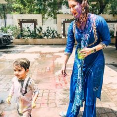 The best Holi with family!! Nothing pretty or delicate about it. Nisha, Asher and Noah unleashed and did what they are suppose to! Just had… Beginning Of Spring, Hindu Festivals, Holi, Kimono Top, Delicate, Celebrities, Pretty, Women, Fashion