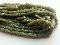 Vessonite Square Heishi Cut Beads Green Garnet by gemsforjewels