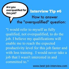 Interview Questions - Why Should We Hire You? How to Answer - Are you overqualified for this job?How to Answer - Are you overqualified for this job? Job Interview Answers, Job Interview Preparation, Interview Skills, Job Interview Tips, Job Interviews, Job Resume, Resume Tips, Manager Resume, Resume Ideas