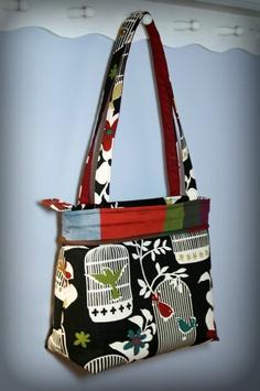"Birdcage fabric shoulder bag, the ""Ellen,"" from Sew Much Cuteness. http://www.etsy.com/shop/SewMuchCuteness"