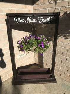 I Love that I made it myself! Family Signs, Diy Signs, Hanging Planters, Outdoor Furniture, Outdoor Decor, My Love, Home Decor, Garden Box Raised, Interior Design