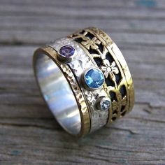 Silver gold ring Silver gold band Gold nature ring 14k wide