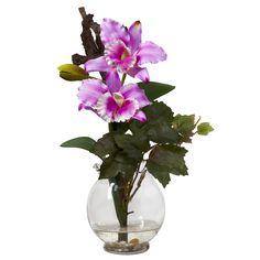 David Shaw Silverware NA LTD Mini Cattleya w/Fluted Vase Silk Flower Arrangement, Purple