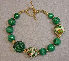 Vintage Carved Green Malachite Bead Bracelet AAA Grade Bead