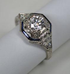 Geometric Art Deco Ring with a .84 carat Diamond