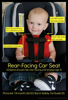 Rear-face them as long as possible!! In a sudden stop inertia causes the child to press into the car seat. Front facing their neck is too vulnerable while so young. Think about it.
