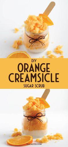 Bet an orange creamsicle sugar scrub flavor isn't something you come across everyday. Sugar Scrub Homemade, Homemade Lip Balm, Sugar Scrub Recipe, Sugar Scrubs, Salt Scrubs, Lemon Body Scrubs, Lavender Sugar Scrub, Lip Balm Recipes, Orange Creamsicle